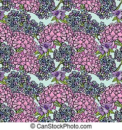 Seamless pattern with Realistic graphic Gardenia flowers -...