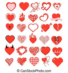 big vector set,Heart and love