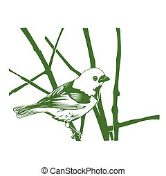 bird on the branch-vintage hand drawn