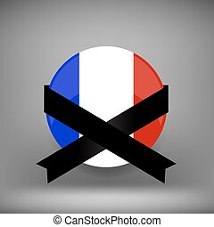 Franch Icon and Black Ribbon - Franch Icon with Black ribbon...