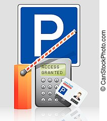 Parking access control system - proximity card, reader and...