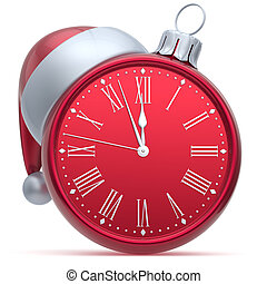 New Years Eve alarm clock Christmas ball decoration red...