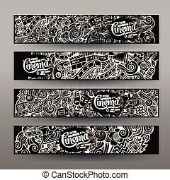 Cartoon hand-drawn sketchy trace Doodle Cinema banners...