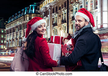 Beautiful couple in the city - Young beautiful couple with...