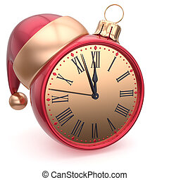 Christmas ball alarm clock New Years Eve time Santa hat red...