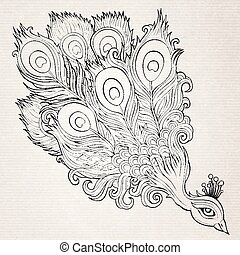 Decorative ornamental peacock background - Decorative...