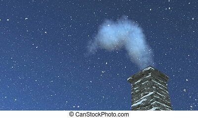 House chimney with smoke at night