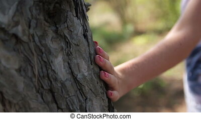 hand of a young woman touching a tree trunk