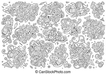 Sketchy vector hand drawn Doodle Latin American objects -...