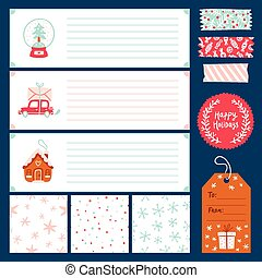 Winter holidays vector decorations collection with seamless...