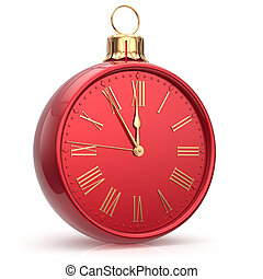 New Years Eve time alarm clock bauble Christmas ball red -...