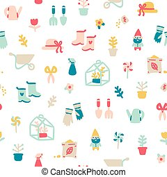 Garden stuff cartoon seamless pattern