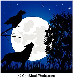 Silhouettes animal in the night