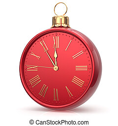 New Years Eve time alarm clock Christmas ball midnight hour...