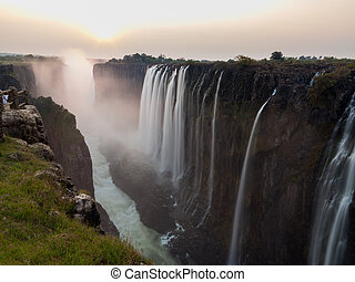 Victoria Falls sunset from Zambia side, silk water -...