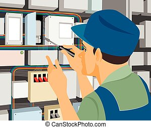 Electrician at work - Vector illustration of a electrician...