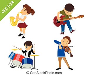 Four young musicians - Vector illustration of a four young...