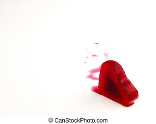 Red heart shaped ice in the blood