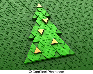 Christmas tree - abstract 3d illustration oftriangles...