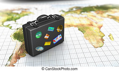 travel concept - 3d illustration of luggage on map, travel...