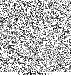 Cartoon doodles cinema seamless pattern - Cartoon vector...