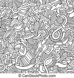 Cartoon hand-drawn doodles on the subject Latin American...