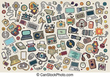 Color vector hand drawn Doodle set equipment and devices objects