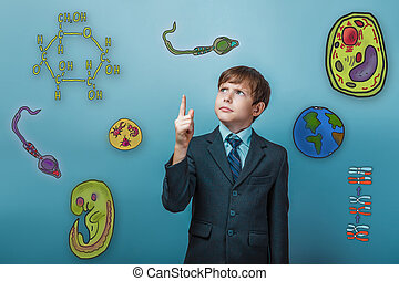 boy with blue background - businessman adolescence boy...