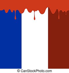 Flag of France and Blood Splatter Blood Runs Down The French...