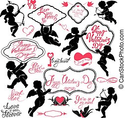 Set of cute angels, Calligraphic text Happy Valentine`s Day,...