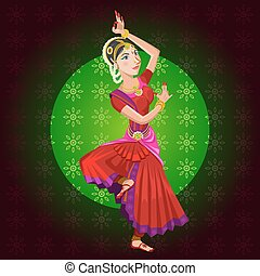Indian Classical Dance - Young Indian Woman with Saree...