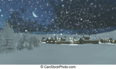Dreamlike snowy township at night