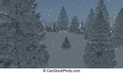 Dreamlike township snowfall night - Dreamlike snow-covered...
