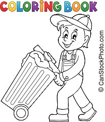 Coloring book garbage collector theme 1 - eps10 vector...
