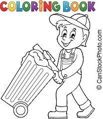 coloração, livro, Lixo, cobrador, tema, 1,