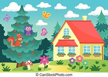 Coniferous tree near house - eps10 vector illustration.