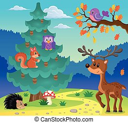 Coniferous tree theme image 3 - eps10 vector illustration