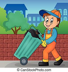 Garbage collector theme image 2 - eps10 vector illustration
