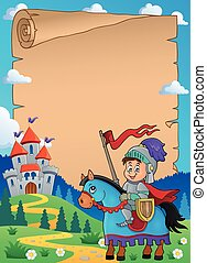 Parchment with knight on horse theme 1 - eps10 vector...