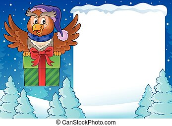 Snowy frame with owl and gift - eps10 vector illustration.