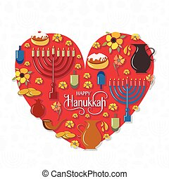 Heart with hand sketched Happy Hanukkah logotype, badge and...