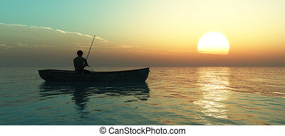 fishing boat - fisherman and fishing boat floating in the...
