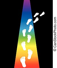 Stay On Path Footsteps - Footprint on a rainbow colored...