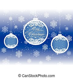 Christmas background with balls and snowflakes, vector