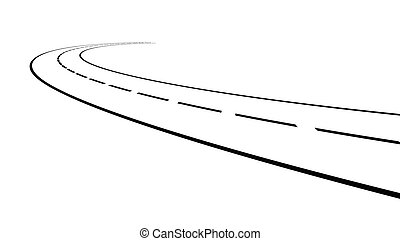 Perspective of curved road - Vector illustration of outline...