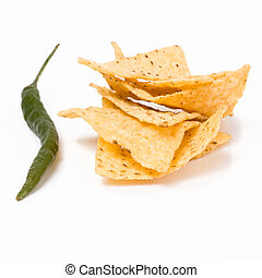 Chili n Chips - Pile of Tortilla Chips with large green...