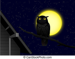 owl in the night - cartoon owl on the branch