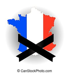 Map of France and Black Ribbon on Grey Background
