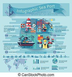 Sea Port Infographics Set - Sea port infographics set with...
