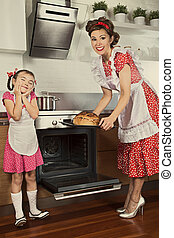 Housewife and her daughter baking bread Monochrome, grunge...